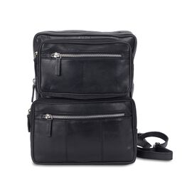 100% Genuine Leather Black Colour Multi Pockets Backpack (Size 23x28x7 Cm)