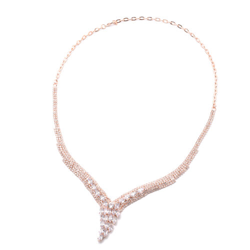 2 Piece Set - Simulated Diamond and White Austrian Crystal Necklace (Size 22) and Drop Earrings in Silver Tone
