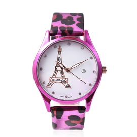 STRADA Japanese Movement White Austrian Crystal (Rnd) Water Resistance Watch with Leopard Pattern St
