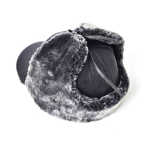 Black Colour Faux Fur Trapper Hat (Size 23X14 Cm)