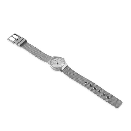 DIAMOND and CO LONDON Diamond Studded Bracelet Watch with a Stainless Steel Mesh Style Strap in Silver Tone