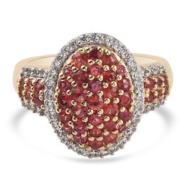 Red Sapphire and Natural Cambodian Zircon Cluster Ring in 14K Gold Overlay Sterling Silver 1.92 Ct.