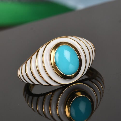 Arizona Sleeping Beauty Turquoise Enamelled Ring in 14K Gold Overlay Sterling Silver 1.25 Ct.