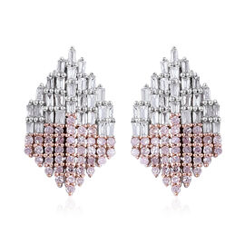 9K White Gold Diamond (Bgt), Natural Pink Diamond Earrings (with Push Back) 1.00 Ct.