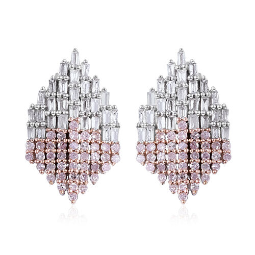 1 Carat Diamond and Natural Pink Diamond Cluster Stud Earrings in 9K White Gold 3.20 Grams
