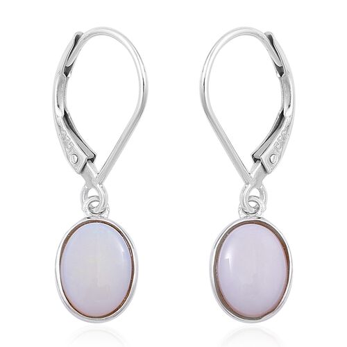 9K White Gold 1.50 Ct. AA Australian White Opal (Ovl) Lever Back Earrings
