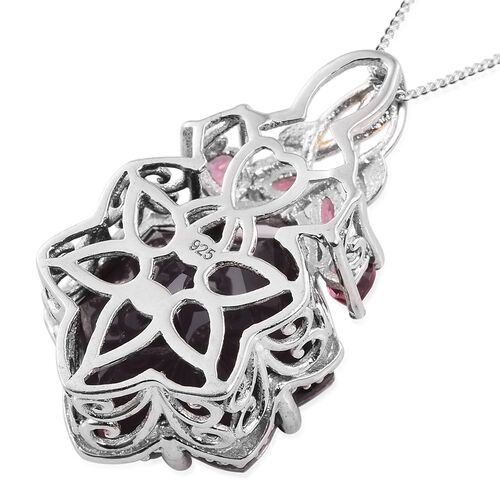 Colour Change Alexandria Quartz and Rhodolite Garnet Pendant with Chain in Platinum Overlay Sterling Silver 16.250 Ct.