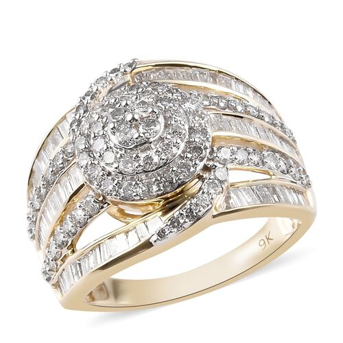 Signature Collection 2 Carat Diamond Cluster Ring in 9K Gold SGL Certified I2 I3 GH