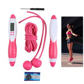 Electronic Counting Skipping Rope in Pink and White