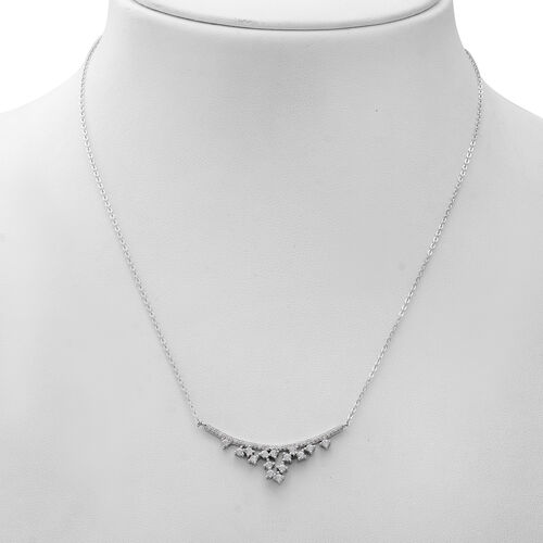 ELANZA Simulated Diamond Necklace (Size 17 with 1 inch Extender) in Rhodium Overlay Sterling Silver
