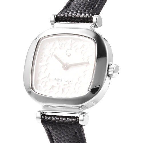 RACHEL GALLEY Lattice Collection Swiss Movement Watch with Black Genuine Leather Strap- White