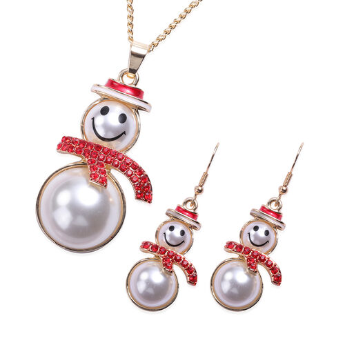 3 Piece Set - Red Austrian Crystal and Simulated Pearl Enamelled Snowman Pendant with Chain (Size 28