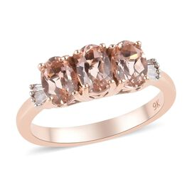9K Rose Gold Marropino Morganite and Diamond Ring 1.25 Ct.