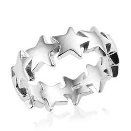 Platinum Overlay Sterling Silver Star Ring