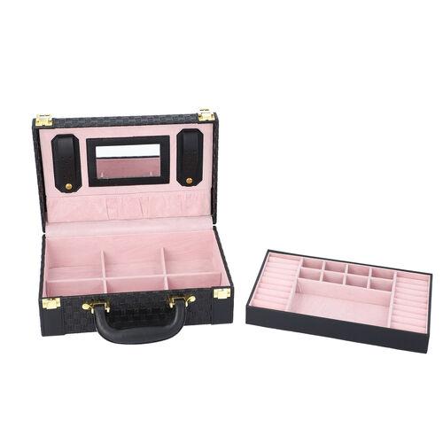 Woven Texture Briefcase Design 2-Layer Jewellery Box in Black