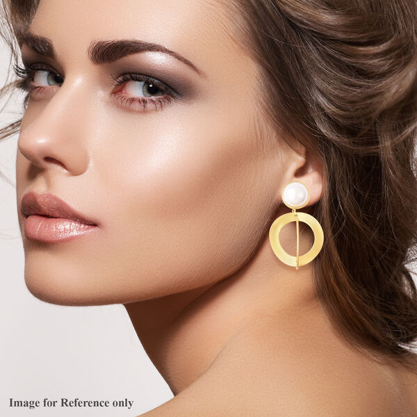 Simulated Pearl Dangle Earrings (with Push Back) in Gold Tone