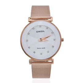 JOWISSA SWISS Ronda Diamond Cut and Crystal Studded White Enamel Dial FACET Watch with Rose Gold Ton