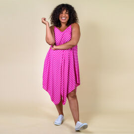 TAMSY Viscose Asymmetrical Hem Herringbone Stripe Dress One Size, (Fits Size 8-18 ) - Hot Pink