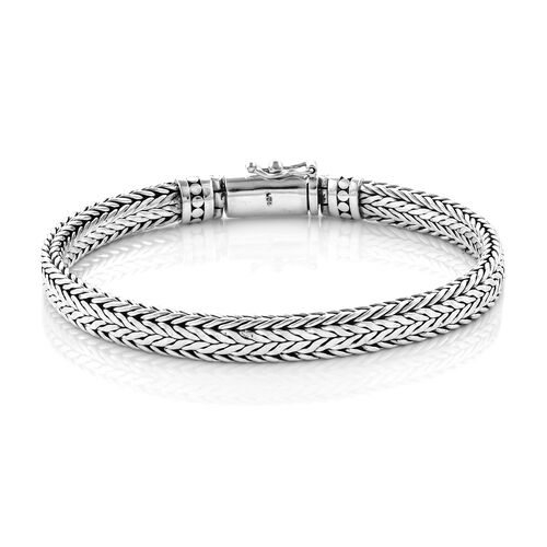 Royal Bali Collection Sterling Silver Tulang Naga Bracelet (Size 7), Silver wt 28.43 Gms.