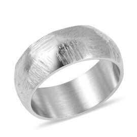 High Finish Texture 8mm Heavy Band Ring in Silver Tone 4.60 grams