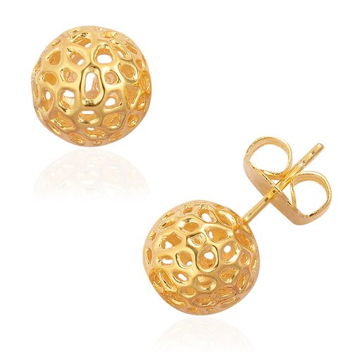 RACHEL GALLEY Yellow Gold Overlay Sterling Silver Globe Stud Earrings (with Push Back) Silver Wt 4.47 Gms