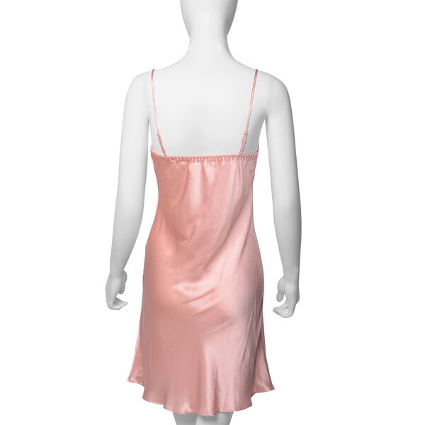 100% Mulberry Silk Chemise with Embroidery in Peach Pink Colour - Size XL