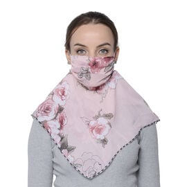 2 in 1 Flower Pattern Chiffon Soft Feel Scarf and Protective Face Covering (Size 45x45 Cm) - Red and