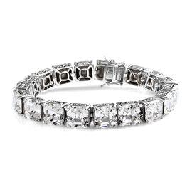 J Francis - Crystal from Swarovski White Crystal (Asscher 10x10 mm) Tennis Bracelet (Size 7.75) in P