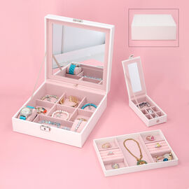 PU 2 layer Elegant  jewelry box with stitching surface,with a sturdy lock and key,top inside has ext