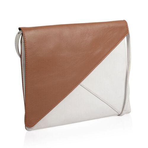 NEW SEASON Genuine Leather Tan and Off White Colour Crossbody Bag (Size 24x18 Cm)