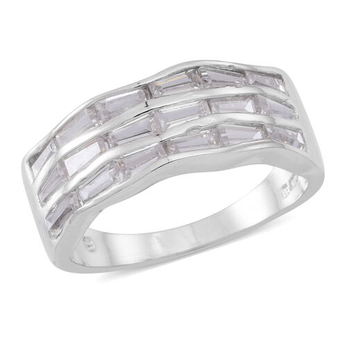 ELANZA Simulated Diamond (Bgt) Ring in Rhodium Plated Sterling Silver, Silver wt 4.67 Gms.