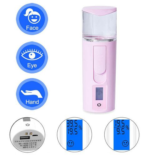 3 in 1 Nano Mist Sprayer Moisture Tester with USB Mobile Charging Bank - Pink