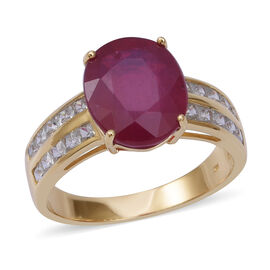 8.2 Ct AAA African Ruby and White Zircon Solitaire Design Ring in 9K Gold 2.9 Grams