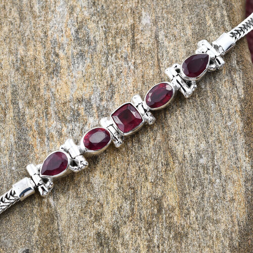 Hand Made African Ruby Bracelet (Size 7 with 2 inch Extender) in Sterling Silver ,Silver wt 9.34 Gms