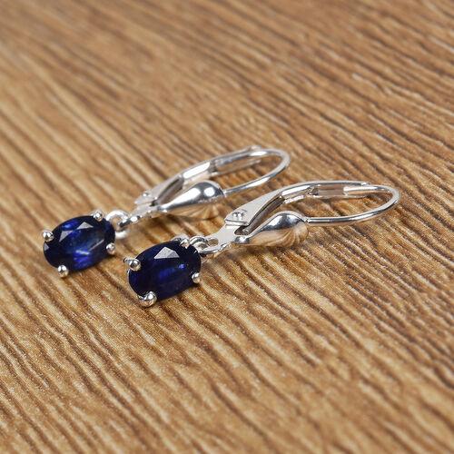 Masoala Sapphire Solitaire Lever Back Earrings in Sterling Silver 1.00 Ct.
