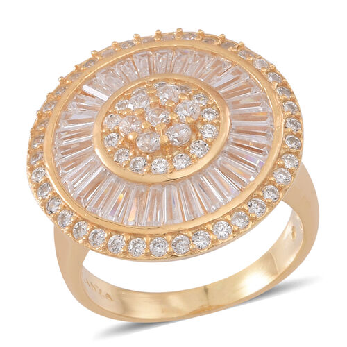 ELANZA AAA Simulated White Diamond (Rnd) Ring in Yellow Gold Overlay Sterling Silver