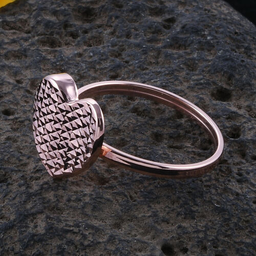 Super Auction- Royal Bali Collection 9K Rose Gold Diamond Cut Heart Ring