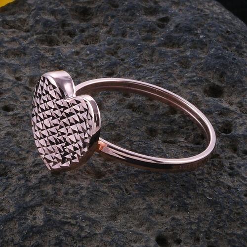 Royal Bali Collection 9K Rose Gold Diamond Cut Heart Ring