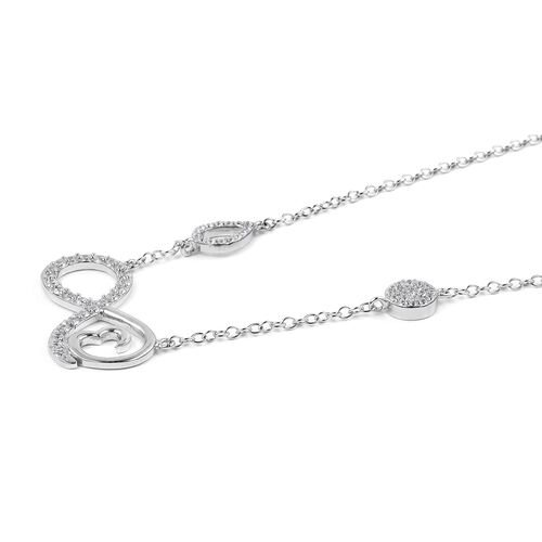 Simulated Diamond (Rnd) Infinity Necklace (Size 16) in Rhodium Overlay Sterling Silver 1.240 Ct.