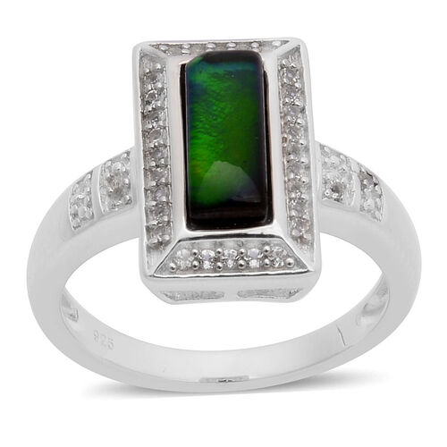 Canadian Ammolite (Bgt 1.15 Ct), White Topaz Ring in Platinum Overlay Sterling Silver 1.350 Ct.