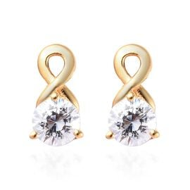 J Francis - 14K Gold Overlay Sterling Silver Earrings (with Push Back) Made with SWAROVSKI ZIRCONIA