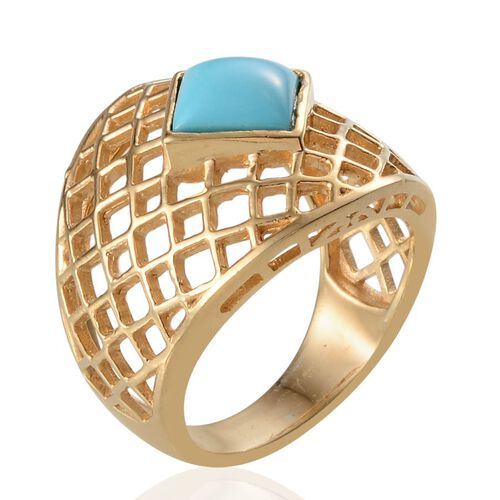 Arizona Sleeping Beauty Turquoise (Sqr) Net Design Ring in 14K Gold Overlay Sterling Silver 2.400 Ct.