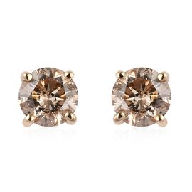 9K Yellow Gold SGL Certified Natural Champagne Diamond (I3) Stud Earrings (with Push Back) 0.50 Ct.