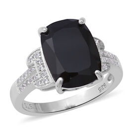 8.31 Ct Boi Ploi Black Spinel and Zircon Classic Ring in Rhodium Plated Silver