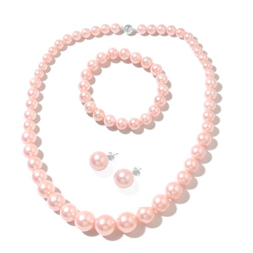 Pink Shell Pearl (Rnd) Beads Necklace (Size 20) with Magnetic Clasp, Stretchable Bracelet (Size 7) a