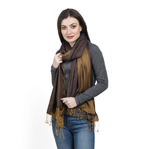 100% Silk Brown Colour Reversible Scarf with Golden Fringes (Size 200x70 Cm)