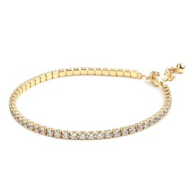 ELANZA Simulated Diamond (Rnd) Tennis Bracelet (Size 7 with 1 inch Extender) in Yellow Gold Overlay Sterling Silver