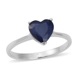 Kanchanaburi Blue Sapphire (Hrt) Solitaire Heart Ring in Rhodium Overlay Sterling Silver 2.250 Ct.