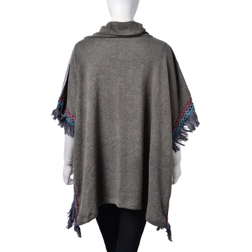 Grey, Red and Multi Colour Leopard Pattern Turtle Neck Poncho with Tassels (Free Size)