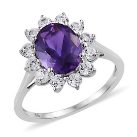 9K White Gold AAA Moroccan Amethyst (Ovl 9x7 mm), Natural Cambodian Zircon Floral Ring 2.500 Ct.